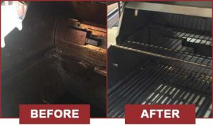 Before and After images of dirty grills.
