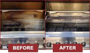 Before and after BBQ cleaning with BBQ Repair Florida.